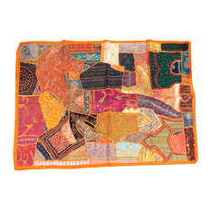 Mogul Interior - Consigned Orange Sari Tapestry Handmade Wall Hanging - *Orange, Red, Blue, Yellow and gold thread work , the colors of the tapestry scintillate you visually and add a dramatic statement to your decor.