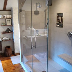 Atm mirror and glass frameless glass shower enclosure for Spiral shower stall
