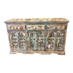 Mogul Interior - Consigned Sideboard Media Console Buffet Distressed Blue Patina India Furniture - Beautiful, rustic and warm with a earthy brown,blue ton wonderful indian will add breathe life into home.