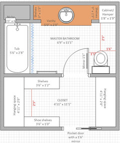Need help with bathroom layout to maximize closet and storage!