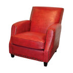 Addison Leather Club Chair Teal Blue Transitional