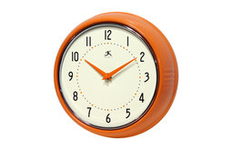 Infinity Instruments Retro Kitchen Vintage 50s Wall Clock, Orange