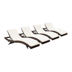 Lexmod Peer Chaise Outdoor Patio Set Of 4 In Brown White
