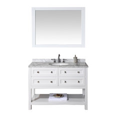 Floating Double Sink Bath Vanity Set With White Gray Mable Top