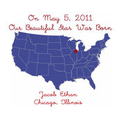 Map Birth Announcement, Navy Blue by Just Bunch Designs