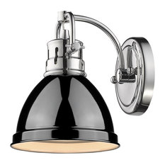 Golden Lighting - Duncan Ch 1 Light Bath Vanity, Chrome Finish With Black - Contemporary Style ...