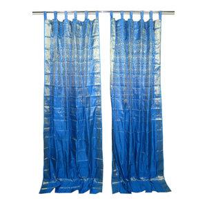 Mogulinterior - Indian Style Decor- 2 Sari Curtains Blue Brocade Silk Sari Drapes Curtain Window - Brocade SARI Silk blends