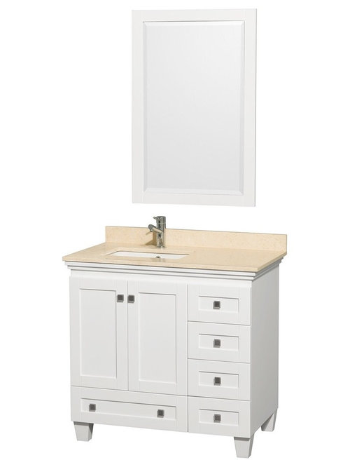 "36"" White Bathroom Vanity Ivory or White Marble Top - Bathroom ..."