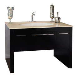 Bellaterra Newport 56 Single Vanity Dark Walnut With Marble Vanity