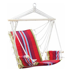 Hanging Rope Chair With Armrests Features Cotton And