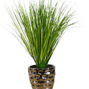 "18"" Tinsel Grass in Hammered Ceramic Pot 3449"