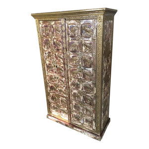 Mogul interior - Distressed Woods Almira Warm Teak Brass Elephants Carved Shabby Chic Decor - The cabinet comes from India and is a made from reclaimed sheesham woods