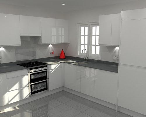 Modern handleless white high gloss kitchen with grey for Grey kitchen white worktop