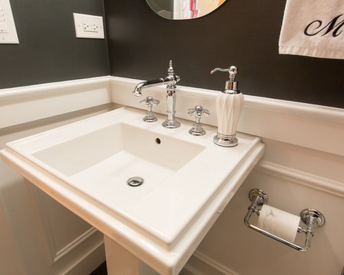 Small Sink Pedestal Powder Room Design Ideas, Pictures, Remodel ...