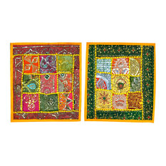Mogul Interior - Shabby Chic Floor Pillow Covers, Set of 2 - The ethnic combination of gujrati sequin embroidery and stunning vibrant colors, sari tapestry patchwork and sequin embroidered that shows India's rich cultural heritage.