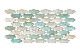 "6""x12"" Aqua and Clear Oval Tiles, Half Sheet"