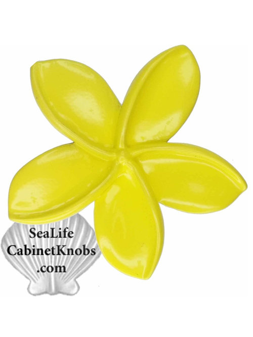 Plumeria Cabinet Knobs - Yellow - Cabinet And Drawer Hardware