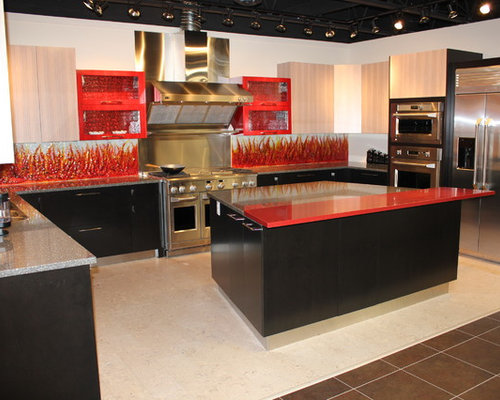Kitchen Design Ideas Renovations Photos With Red Splashback And Cork Floors