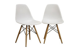 Baxton Studio Azzo Plastic Mid-Century Modern Shell Chairs, White, Set of 2