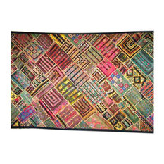 Mogul Interior - Consigned 90S Indian Kuch Wall Tapestry Patchwork Throw Home Decor - This is a really unique beautiful kuch embroidered patchwork handmade wall hanging.
