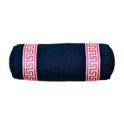 Navy Greek Key Bolster Pillow