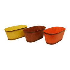 Waldimports Harvest Tones Double  Metal Planter Set Of  Indoor