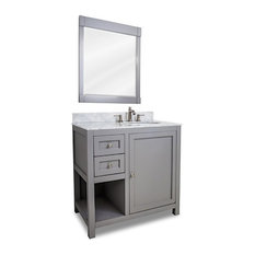 Single Drawer Wood Traditional Shaker Vanity Set With Marble Top