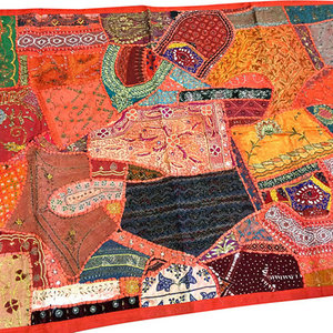Mogul interior - Consigned Indian Inspired Tapestry Red Hand Embroidered Wall Hanging - Sari tapestries are handmade from embroidered saris and Zardozi patches and are beautifully exotic creations.
