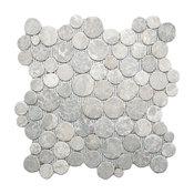 "12""x12"" Light Gray Moon Mosaic Tile"