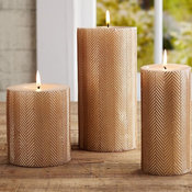 Gold Herringbone Pillar Candle