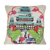 Colorful Pagoda Pillow, Blue