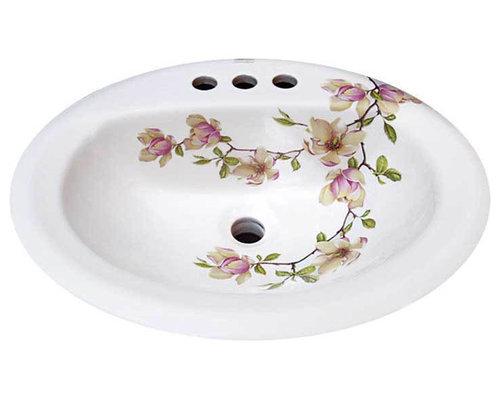 Floral Bathroom Sinks : Soulangeana Magnolia Painted Sink - decoratedbathroom.com