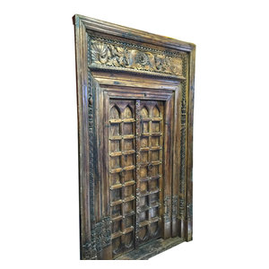 Mogul Interior - Consigned Chakra Door With Frame Reclaimed Rustic Wood Architectural Indian - Rich with history and detail these set of doors will accent beautifully any room.