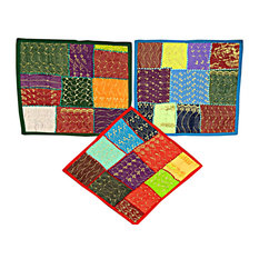 Mogul Interior - Indian Embroidered Cotton Cushion Cover Throw Home Decor Holiday Gift - The ethnic combination of gujrati embroidery and stunning vibrant colors, sari tapestry patchwork and sequin embroidered that shows India's rich cultural heritage.