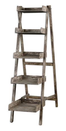 Uttermost - Weathered Wood Annileise 5 Shelf Bookshelf - Weathered ...