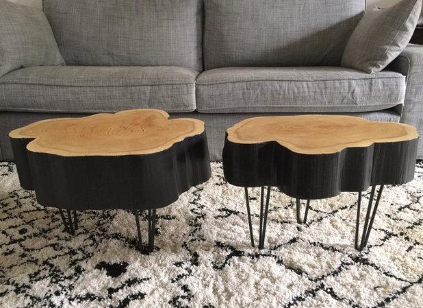 diy fabriquer une table basse rondin mont e sur hairpin legs. Black Bedroom Furniture Sets. Home Design Ideas
