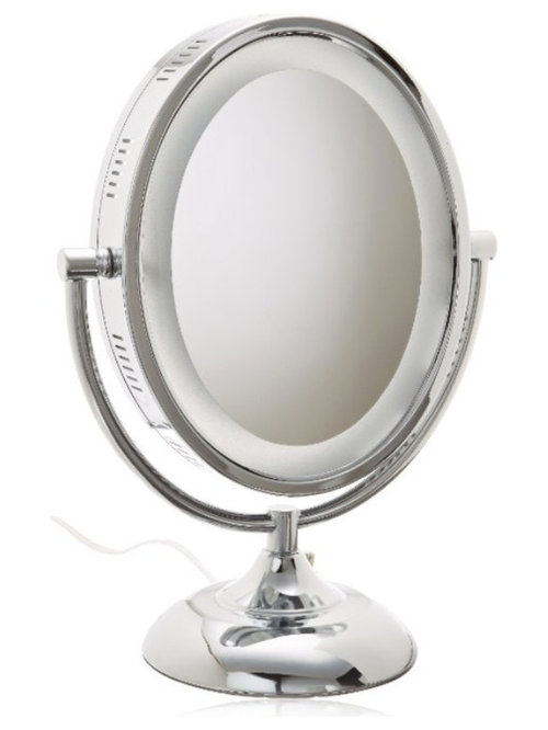 lighted oval makeup mirrors houzz. Black Bedroom Furniture Sets. Home Design Ideas