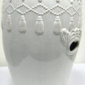 Hanging Tassels White Garden Ceramic Stool by Overstock