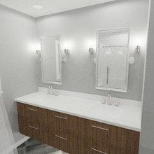 Fremont Split level Ranch Mid Century Modern (Kids) Hall Bath