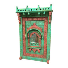 Mogul Interior - Consigned Arched Mirror Frame Jharokha Wall Decor Red Green Patina - Add a warm, colorful look to your wall or dressing area with this Jharokha Style carved wood wall hanging decors. This beautiful-looking hand carving Jharokha with Mirror Works.