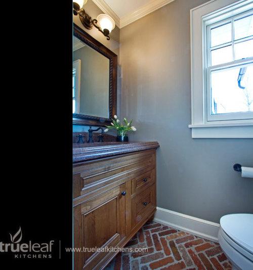 Bathroom Design Ideas Renovations Photos With Brick Floors And Blue Walls