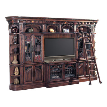 ... cabinets/wine center has two glass doors, two adjustable shelves, two