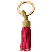 Tassel Key Chain, Green/Pink Suede