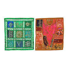 Mogul Interior - Indie Decor 2 Red Green Sequin Patchwork Sari Indian Cushion Covers 16 Inches - The ethnic combination of gujrati embroidery and stunning vibrant colors, sari tapestry patchwork and sequin embroidered that shows India's rich cultural heritage.