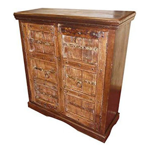 Mogul Interior - Antique Doors rustic teak Wood Sideboard Furniture Console Cabinet - The chest comes from India and the doors are made from 19 century vintage reclaimed doors , beautifully aged and salvaged from old Haveli doors, the sides and top are handcrafted from old reclaimed woods.