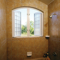 Best window for use in shower for Where to buy glass block windows