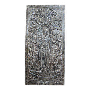 Mogul Interior - Hand Carved Wood Buddha Floral Intricately Carving Door Wall Art Decor - The Buddha standing on double floral base under ther floral carving door panel from India.