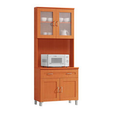 Microwave Pantry Cabinet With Insert Modern Kitchen Cabinetry Houzz Ikea Cabinets