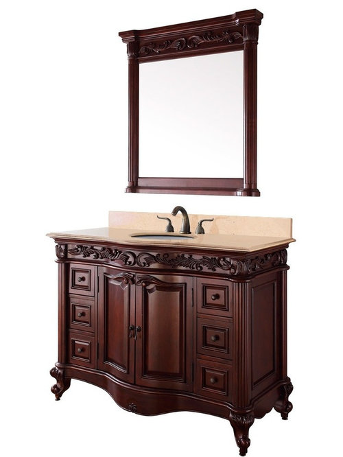 Brilliant Natural Stone Top 36inch Single Sink Vintage Style Bathroom Vanity