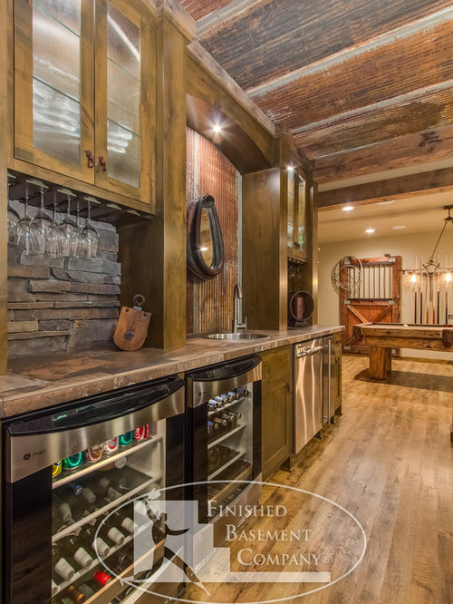 Rustic Basement Bar Home Design Ideas Pictures Remodel